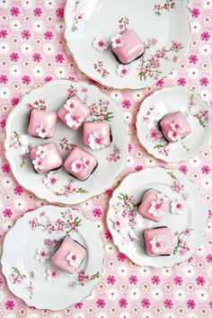 Cherry blossom pink fondant fancies Delectable and visually stunning pink fondant fancies with cherry blossom by ..... Read more at http://tumblr.weddinginspirasi.com/post/49418076229/cherry-blossom-pink-fondant-fancies-delectable