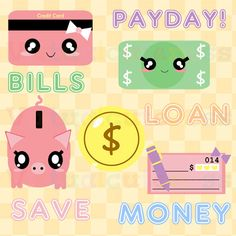 Cute Money Clipart - Bills Clip Art, Payday, Credit Card, Check, Mortgage, Digital Stickers, Piggy Bank, Free Commercial and Personal Use