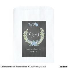 Chalkboard Blue Bells Forever Wedding Favor Bags