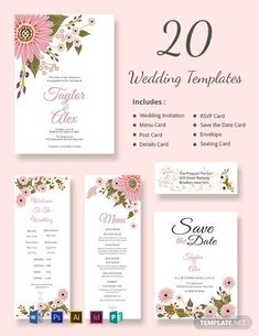 Templates for Wedding Invitation Luxury Floral Wedding Templates Includes 20 Designs Word Doc Free Printable Wedding Invitations, Printable Invitation Templates, Wedding Invitation Card Template, Wedding Menu Cards, Wedding Templates, Wedding Invitation Design, Engagement Invitations, Wedding Rsvp, Wedding Ideas