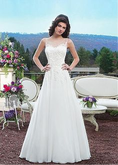 CHARMING TULLE CHIFFON SATIN BATEAU NECKLINE NATURAL WAISTLINE A-LINE WEDDING DRESS IVORY WHITE LACE BRIDAL GOWN