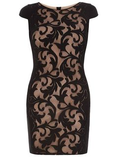 Black and ivory lace tube dress