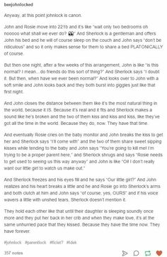 """This, this exactly is how I want JohnLock to happen, it has to EVOLVE from Parentlock into something more. Nothing smutty had to ever be shown on screen, just a little kiss here, John smoothing one of Sherlock's curls, noting blatant, nothing """"obscene"""". Just two people who live each other in the little ways. #season5"""