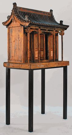 Antique Chinese Traditional Family Shrine - Approximate Age:circa 1750-1800.  Origin:Shanxi Province, China.    An excellent example of a Chinese family shrine. A traditional Chinese family shrine would often hold offerings to ancestors and/or Buddha, family tablets and other keepsakes.