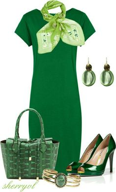 Shades of Green Ensemble Green Fashion, Work Fashion, Spring Fashion, Fashion Looks, Fashion Outfits, Womens Fashion, Fashion Trends, Style Work, My Style