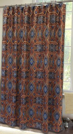Saguaro Desert Southwest Chenille Fabric Shower Curtain Carstens Inc Southwestern Bathroom Brown And Blue