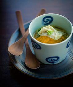 "Chawan-Mushi, Japanese Egg Custard Dish ""Chawan Mushi"" with Sea Urchin and ""Yuba"" Tofu-Skin 雲丹と湯葉の茶碗蒸し"