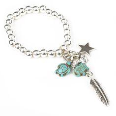 Bibi Bijoux Turquoise charm bracelet with Elephant and turtle charms.  www.bibi-jewellery.co.uk  £50