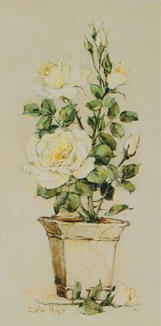 Barbara Mock: Shades of Roses II - Kunstdruck auf Holzfaserplatte 59 x 29 cm