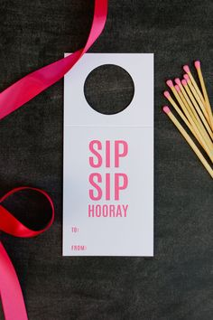 Sip Sip Hooray Wine and Spirit Tags are letterpress printed on a vintage printing press. Neon pink ink on bright white card stock.