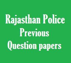 Rajasthan Police Constable Previous Year Question Papers in Hindi