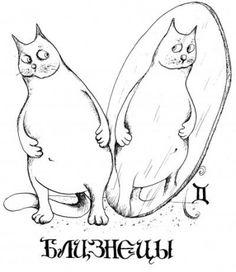 GEMINIS - Очень забавные иллюстрации знаков зодиака представлены в образе котов, котиков и кошечек. Все знаки зодиака.  Дева, Лев, Рак, Близнецы, Телец, Овен, Весы, Скорпион, Стрелец, Козерог, Водолей, Рыбы