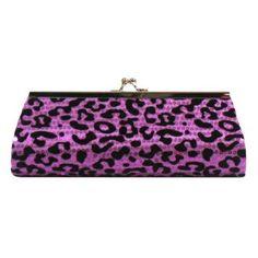 Purple & Black Leopard Print Sequin Clutch Evening Bag $16.99