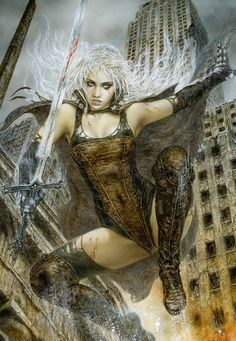 LUZ - Pleniluneo - Luis Royo Dark Fantasy Art, Fantasy Women, Fantasy Girl, Luis Royo, Futuristic Art, Art Costume, Red Sonja, Spanish Artists, Science Fiction Art