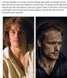 A good description of Jamie as he appears to Claire after twenty years apart. Serie Outlander, Outlander Quotes, Outlander Casting, Sam Heughan Outlander, Gabaldon Outlander, Sam Hueghan, Jaime Fraser, The Fiery Cross, Jamie And Claire