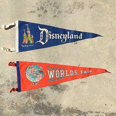 Love these two vintage souvenir pennants (www.thatgypsysoul.etsy.com) #americana #pennants #souvenirs #roadtrips #vintagedecor #vintagestyle #retro #disneyland #worldsfair #newyorkworldsfair
