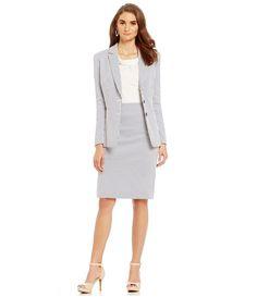 Summer Seersucker Jacket, skirt, dress or pant ! Office chic/ work wear style/ professional fashion
