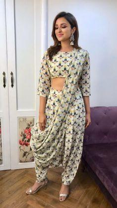 Parineeti Chopra in Payal Singhal crop top, dhoti pants & attached saree drape. Dhoti Saree, Saree Dress, Lehenga, Dhoti Salwar Suits, Indian Wedding Outfits, Indian Outfits, Indian Attire, Indian Wear, Indian Designer Outfits