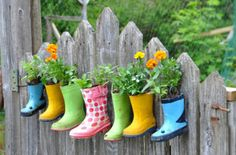 rain boots as small plant container