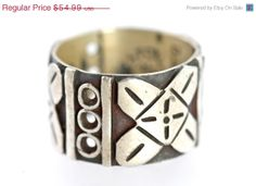 Valentine Sale Vintage Mexico Taxco 925 Sterling Silver Wide Cigar Band Ring size 5 1/2 Cross Design