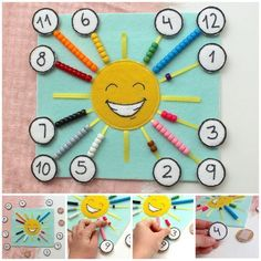 Happy Sun Counting and Color Sorting Quiet Page, count quiet page, count quiet book, Montessori color quiet page, busy book - Diy Quiet Books, Baby Quiet Book, Felt Quiet Books, Quiet Book Templates, Quiet Book Patterns, Book Activities, Preschool Activities, Montessori Color, Happy Sun