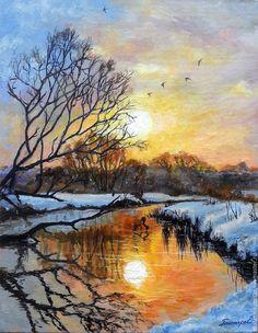 """Гонтарь Екатерина """"Зимний рассвет над лесной речкой"""" - пейзаж, пейзаж маслом, рассвет, зима"""