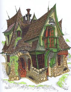 Cottage by Shawn Fisher. Colored pencils and pen and ink.