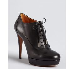 Gucci black leather lace-up ankle booties