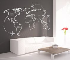 World Map Outlines with continents decal for by decalSticker, $118.00