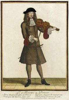 Recueil des modes de la cour de France, 'Le Maistre à Danser' Nicolas Bonnart (France, 1637-1717) France, Paris, circa 1678-1693 Prints Hand-colored engraving on paper Sheet: 14 3/8 x 9 3/8 in. (36.51 x 23.81 cm); Composition: 10 3/8 x 7 1/4 in. (26.35 x 18.42 cm) LACMA Collections