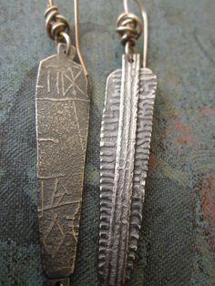 Slim Silver Mud Cloth Earrings by celiefago on Etsy