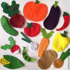 Купить Овощи из фетра - фетр, из фетра, овощи, развивающая игрушка, развивающие игрушки