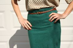 red painted nails, polka dot shirt, green pencil skirt with braided skinny belt - divine!