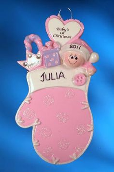 Personalized Baby's 1st Christmas Mitten Christmas Ornament