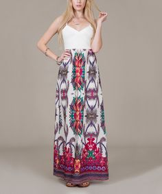 Another great find on #zulily! White Medallion Sweetheart Maxi Dress by Flying Tomato #zulilyfinds