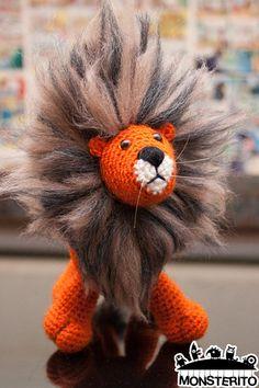 Lion .PDF PATTERN! Monsterito, crochet, amigurumi, pattern, animal, lion, cute, toy, doll. Crochet Lion, Crochet Dolls, Crochet Hats, Felt Animals, Crochet Animals, Lion Illustration, Cute Toys, Loom Knitting, Yarn Crafts