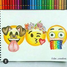 drawing and emojis image Emoji Drawings, Tumblr Drawings, Disney Drawings, Art Drawings Sketches, Cute Drawings, Social Media Art, Emoji Wallpaper, Amazing Drawings, Cool Art
