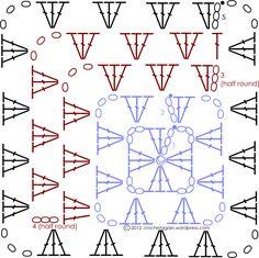#crochet, free pattern, Mitered Granny Square Diagram, #haken, gratis patroon, asymetrisch, haakpatroon, deken, sprei, baby,