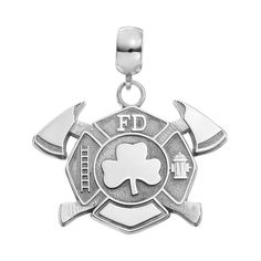 Insignia Collection Sterling Silver Maltese Cross Axes and Shamrock Charm, Women's, multicolor