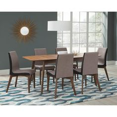 Pacific Landing Alfredo Redbridge Dining Table in Natural Walnut - Table Only   Nebraska Furniture Mart Solid Wood Dining Set, Walnut Dining Table, 7 Piece Dining Set, Wood Table, Dining Room Sets, Black Dining Room Furniture, Table And Chairs, Side Chairs, Dining Chairs