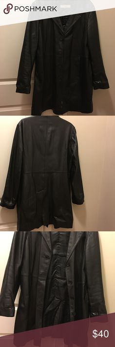Lamb Leather car length jacket 4 button down jacket lined has slight worn spot but in great condition Excelled Jackets & Coats