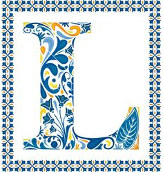 Blue floral letter by nahhan on VectorStock®