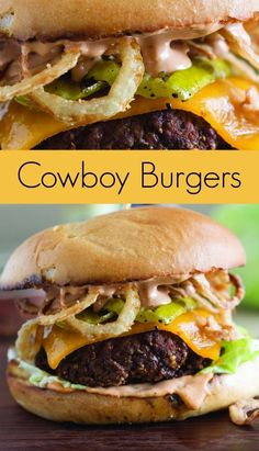 Cowboy Burger Recipe with Grilled Pickles and Crispy Onion Straws - Take your b. - Cowboy Burger Recipe with Grilled Pickles and Crispy Onion Straws – Take your backyard barbecue - Grilling Recipes, Beef Recipes, Cooking Recipes, Grilled Hamburger Recipes, Cowboy Burger, Cowboy Food, Comida Diy, Beste Burger, Gourmet Burgers