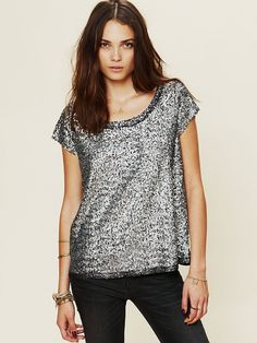 @Shelby Bradshaw I know we want sequin sweatshirts, but here is a fun t-shirt- Free People Sequin Tee