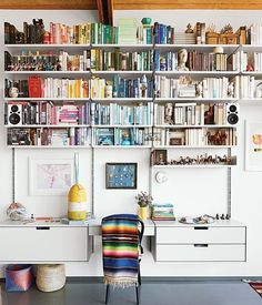 One of our favorite small space secrets — one of those little things that takes a space from good to great — is wall mounted shelving. It's definitely a bigger commitment than a bookcase, but the advantages are manifold. Wall mounted shelving takes up less visual space, less actual space (because there's no back, only the wall), and can be mounted over furniture and in the tiniest of tiny nooks. Here are some of our favorite sources for wall mounted shelving and shelving systems, in a huge…