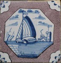Blue ship in purple  www.antieketegelsdeduif.net