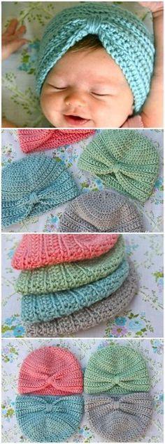 new Ideas for crochet baby turban pattern diy headband Crochet Baby Blanket Beginner, Baby Girl Crochet, Crochet Baby Clothes, Crochet Baby Hats, Baby Knitting, Kids Crochet, Crochet Turban, Crochet Headband Pattern, Beanie Pattern