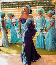 2018 Aso Ebi Styles Lace Design for Nigerian Women - DeZango Fashion Zone Aso Ebi Lace Styles, African Lace Styles, Lace Dress Styles, African Lace Dresses, Latest African Fashion Dresses, African Dresses For Women, Women's Fashion Dresses, African Clothes, African Women Fashion