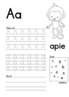 Afrikaans Alfabet A en B werkskaarte - KraftiMama Grade R Worksheets, Writing Practice Worksheets, Printable Preschool Worksheets, Preschool Learning Activities, Alphabet Worksheets, Worksheets For Kids, Work Activities, Holiday Activities, Printables