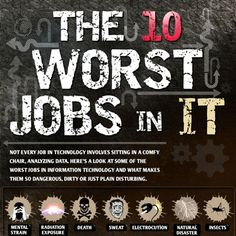 Here's a look at some of the worst jobs in information technology and what makes them so dangerous, dirty or just plain disturbing.